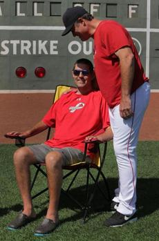 Red Sox manager John Farrell with Pete Frates.